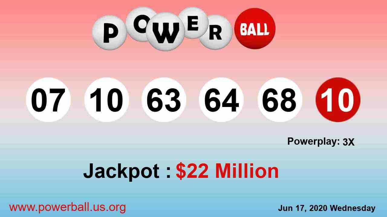 22m Powerball Winning Numbers For June 17 2020 Wednesday