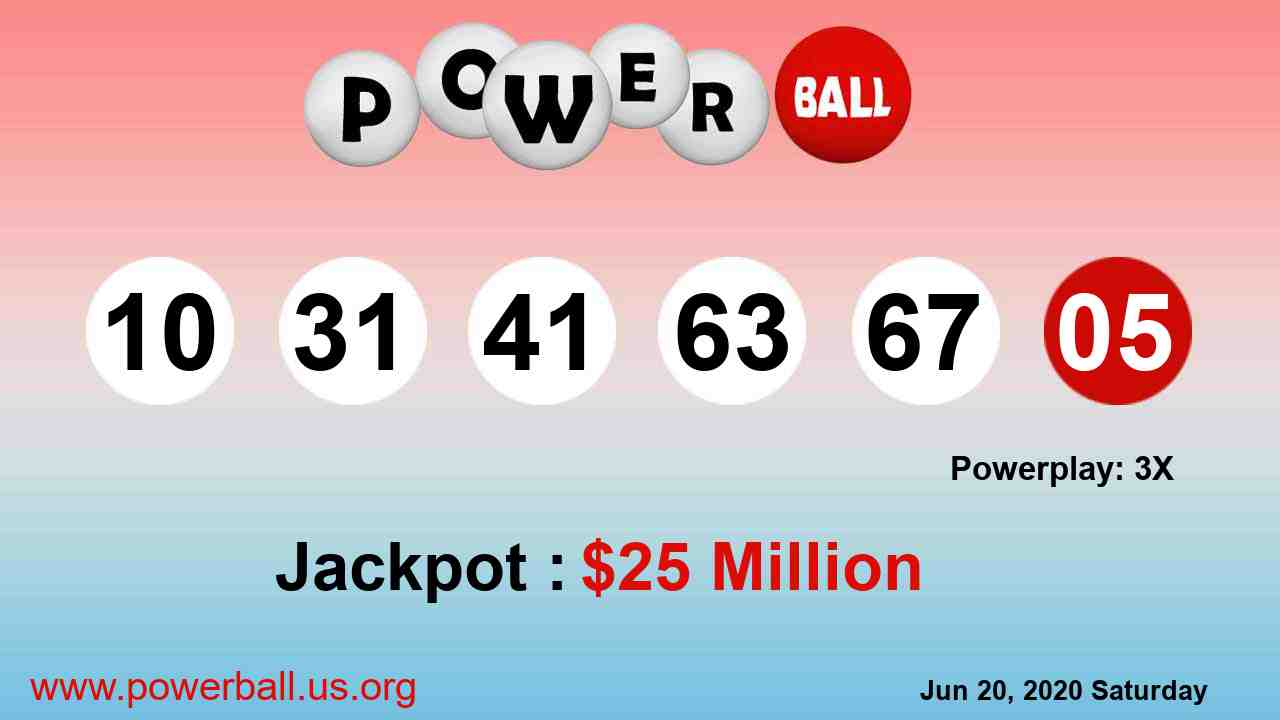 Powerball lottery winning numbers for June 20, 2020, Saturday
