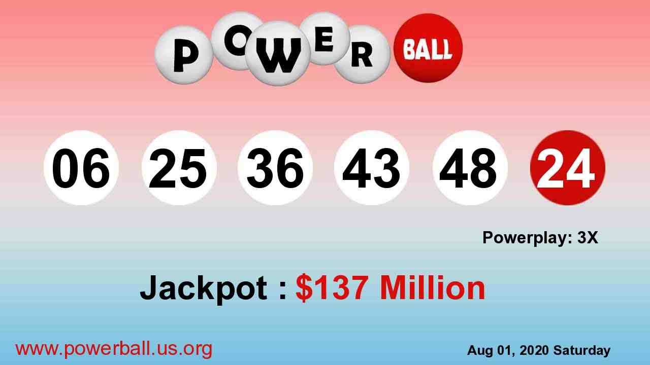 Powerball lottery winning numbers for August 01, 2020, Saturday